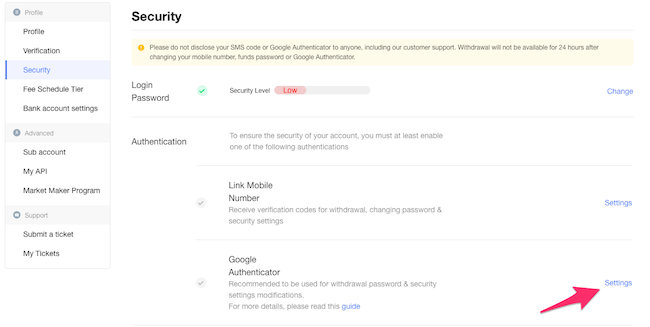 OKEx GoogleAuthenticator