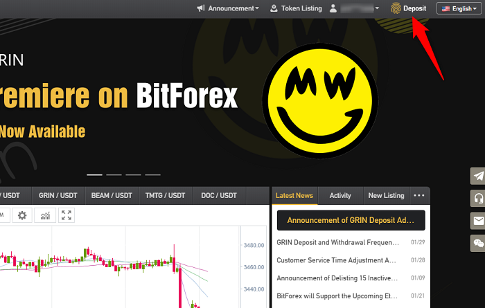 BitForexへの入金方法