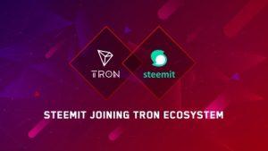 TRONがSteemitとのパートナーシップ提携を発表、TRONによるSteemitの実質買収か