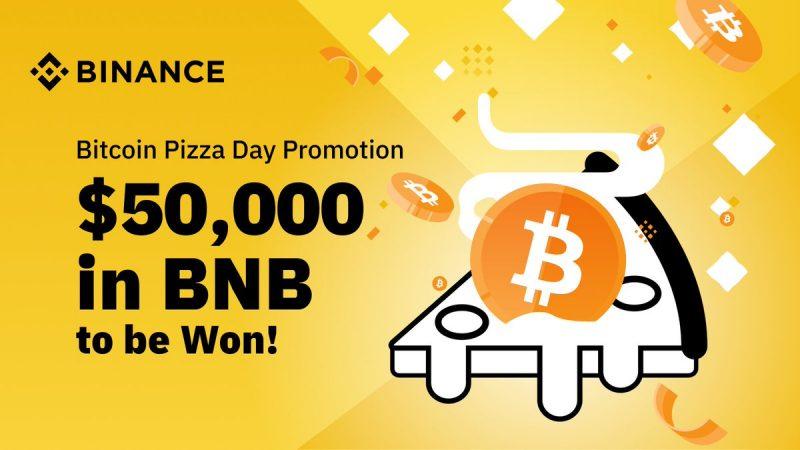Binanceがビットコインピザデーを記念して、最大500万円相当の $BNB 山分けキャンペーンを実施